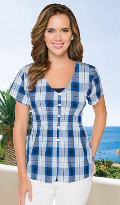 Blue Plaid Shirt & Cami Set