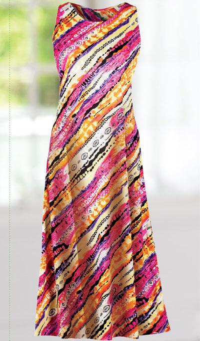 Slimming Asymmetrical Print Dress