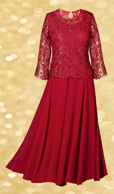 2-Piece Lace Popover Dress