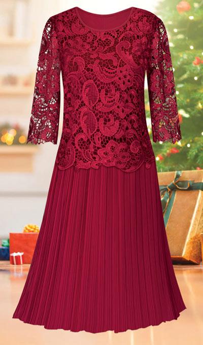 Pleated Crochet Lace Dress
