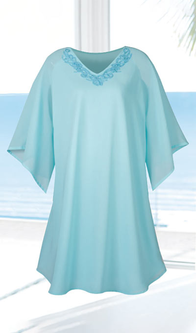 Embroidered Chiffon Cover-Up Dress