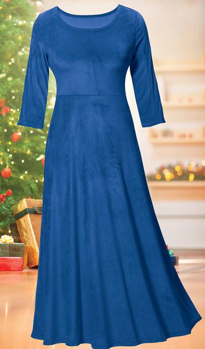 Luxurious Stretch Velvet Maxi Dress  - Sapphire