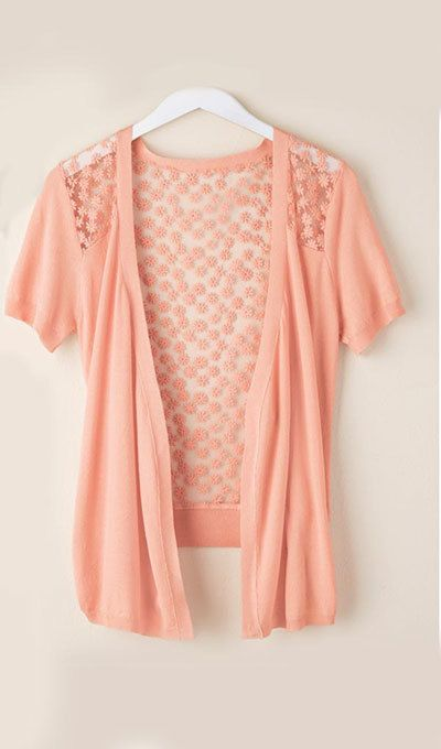 Embroidered Lacy Back Cardigan