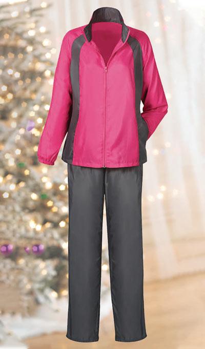 Pink Jacket/Gray Pant Slimming & Sporty Jog Set