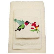 Hummingbird Embroidered Bath Linens