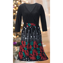 Festive Floral Sweater Dress