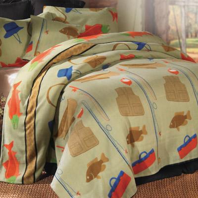 Fishing Retreat Lightweight Polar Fleece Pillow Cover