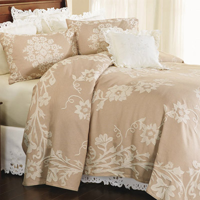 Floral Scroll Jacquard Bedspread