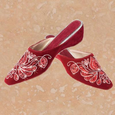 Burgundy Embroidered Slip-On Shoes