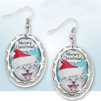 Meowy Christmas Earrings