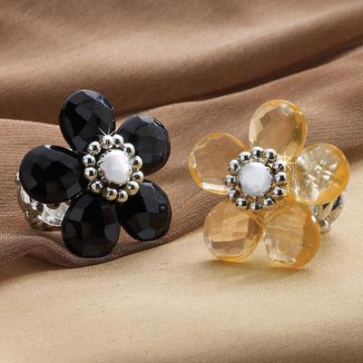 Flowery Adjustable Glam Ring