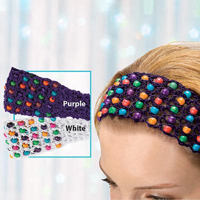 Colourful Crocheted & Beaded Headband