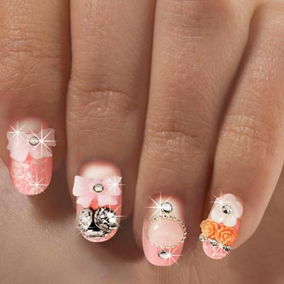 Peaches & Roses Bling Nails
