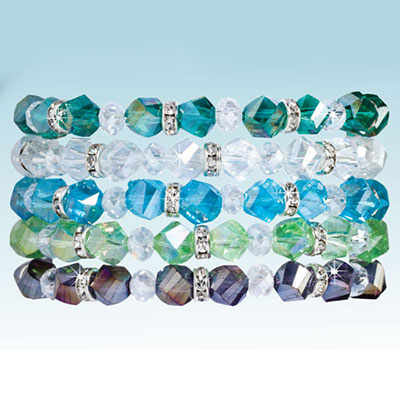 Crystal & Bling Bracelets - Set of 5