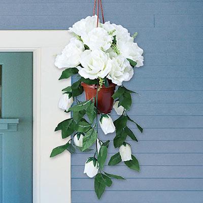 Cascading White Roses