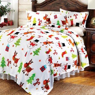 White Christmas Fleece Blankets & Accessories