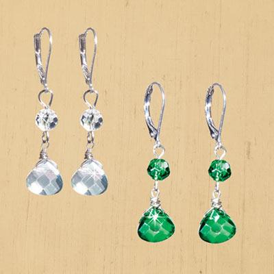 Crystal Faceted Dangle Earrings