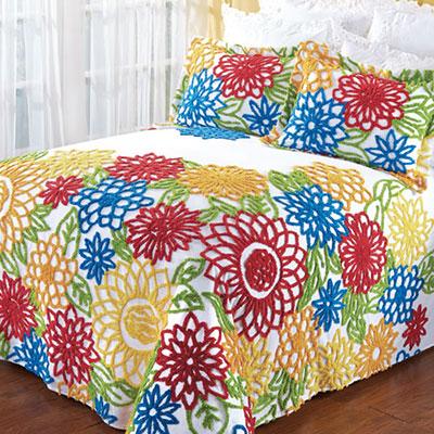 Summer Garden Chenille Bedspread & Sham