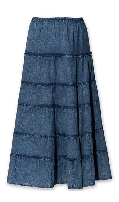 Acid-Washed Tiered Skirt