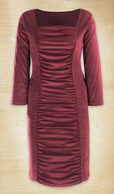 Shirred Velvet Dress