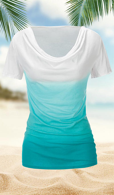 Softly Draping Ombré Tee
