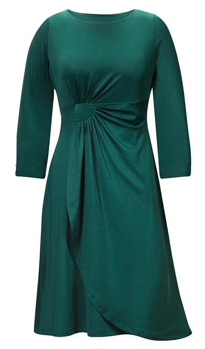 Side Drape Faux Wrap Dress