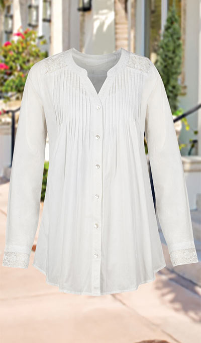 Crocheted Lace Accents Shirt