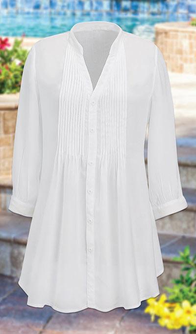Classic Pleated White Shirt